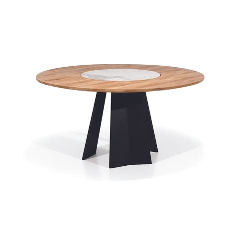 RIANA Solid Wood Round Dining Table - Natural Wood/Black/Marble