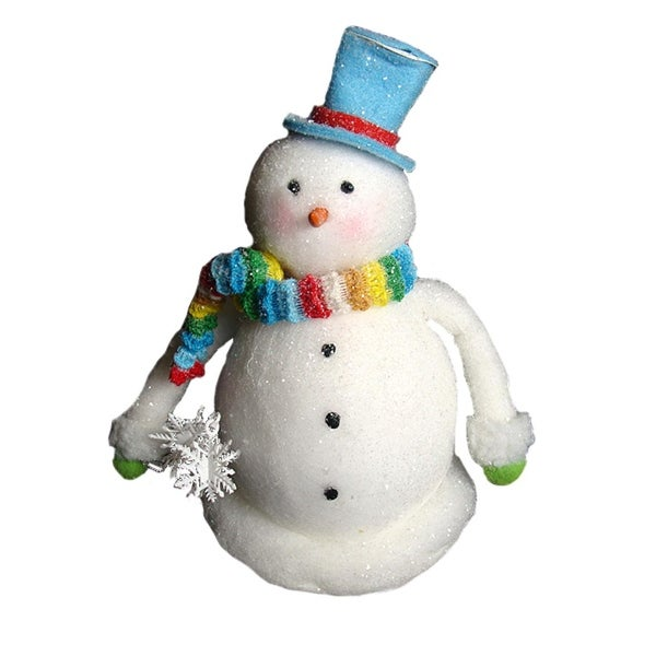 "9"" Cupcake Heaven Chubby Snowman with Rainbow Knit Scarf Christmas Table Figure"