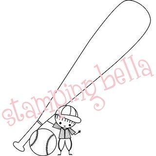 "Stamping Bella Unmounted Rubber Stamp 4""X3.25-Baseball Peep"