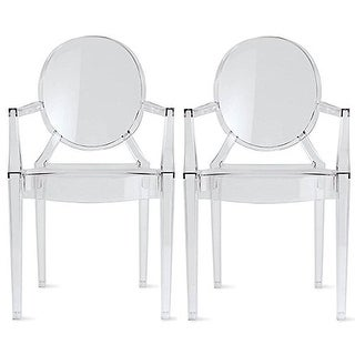 2xhome - Set of 2 Clear Modern Dining Chair With Armrest Stackable Plastic Chairs Home Restaurant Office Retail Outdoor