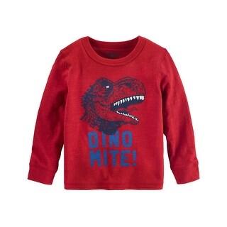 OshKosh B'gosh Baby Boys' Glow in The Dark Dino Tee, Red, 12 Months - 12 Months