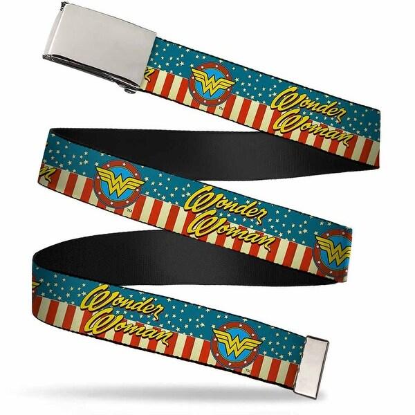 Blank Chrome Buckle Wonder Woman Logo Americana Red White Blue Yellow Web Belt