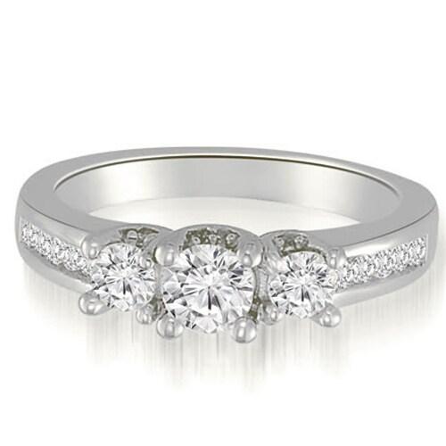 1.60 cttw. 14K White Gold Round Cut Three-Stone Diamond Engagement Ring