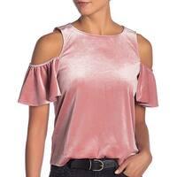 Rebecca Minkoff Pink Womens Size XS Velvet Cold Shoulder Blouse