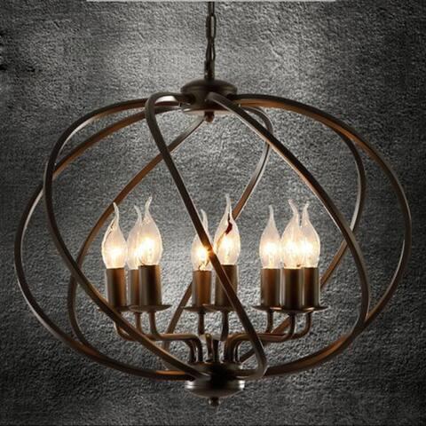 Vintage industrial wrought iron pendant light, net globe pendant lamp, barn hanging light