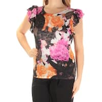 INC Womens Black Floral Short Sleeve Scoop Neck Top  Size: XL