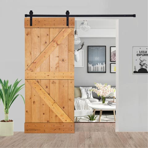 Paneled Wood Barn Door with Installation Hardware Kit - K2 Series