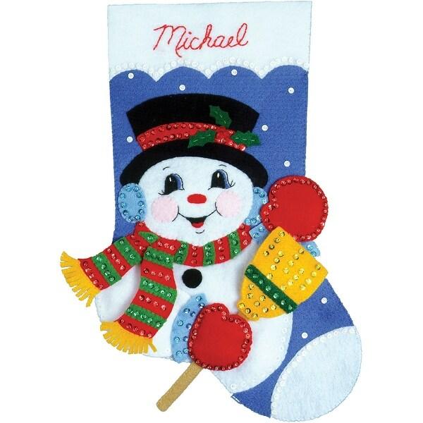 "Snowman W/Broom Stocking Felt Applique Kit-16"" Long"