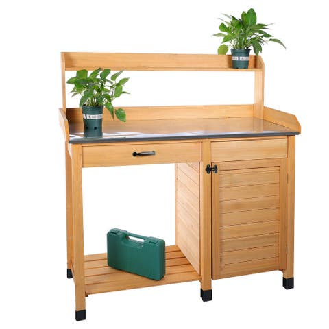 Outdoor Potting Bench Table Garden Work Station w/ Cabinet & Drawer
