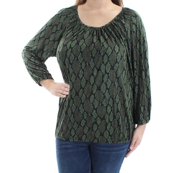 c847e2eb468f Shop MICHAEL KORS $49 Womens New 1561 Green Black Animal Print Blouse XL  B+B - Free Shipping On Orders Over $45 - Overstock - 21265145