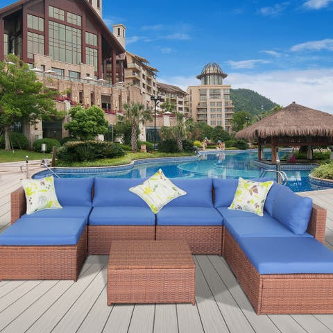 Patio Outdoor 7 Piece PE Rattan Sectional Sofa Furniture Set