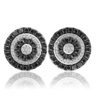 1.00Ct Black Color Diamond & Natural Diamond Push Back Earring - White G-H
