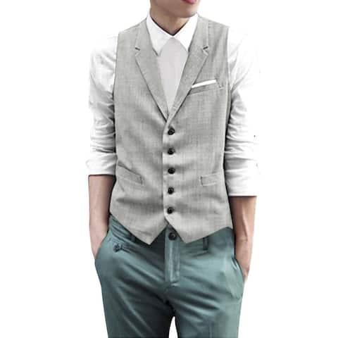 Unique Bargains Men's Notched Lapel Single Breasted Slim Fit Tuxedo Vest - Gray