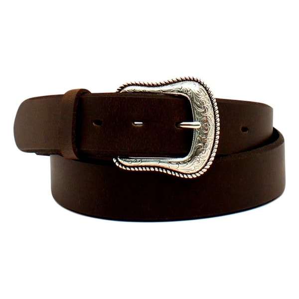 Nocona Western Belt Women Leather Engraved Roped Dark Brown