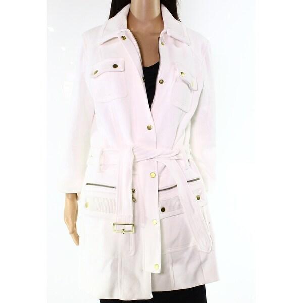 INC NEW White Women's Size Large L Zip Trim Flap Pocket Peacoat ...