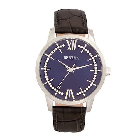 Bertha Prudence Leather-Band Watch - Grey