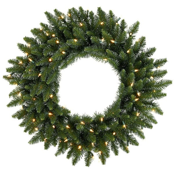 "24"" Pre-Lit Eastern Pine Artificial Christmas Wreath - Clear Lights"