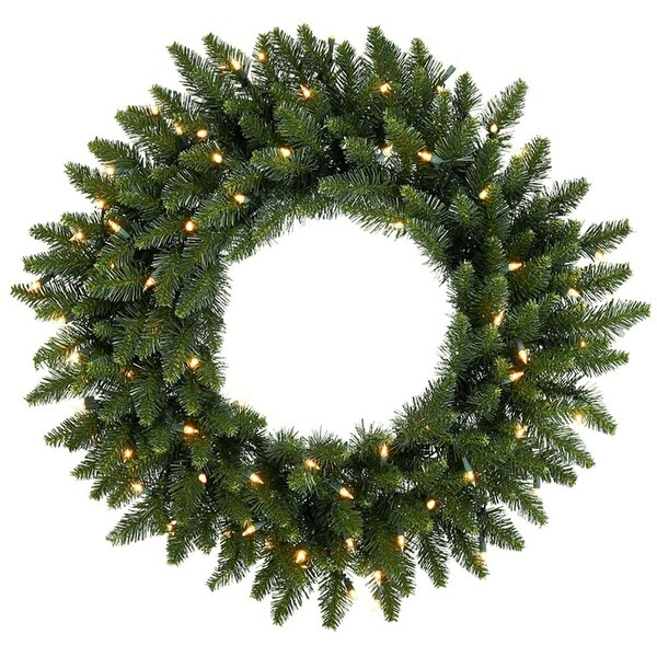 "36"" Pre-Lit Eastern Pine Artificial Christmas Wreath - Clear Lights"