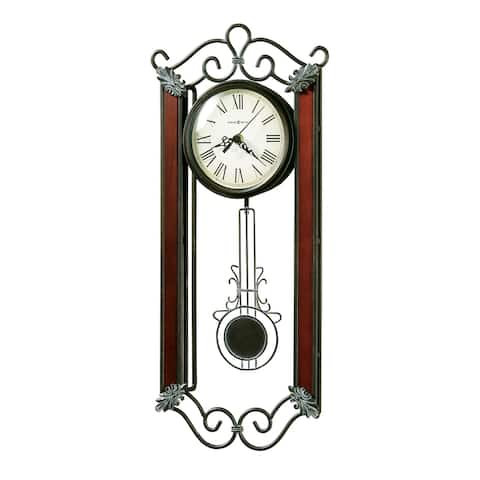 Howard Miller Carmen Elegant, Transitional, Eclectic, Glam Wrought Iron Wall Clock with Pendulum, Reloj de Pared