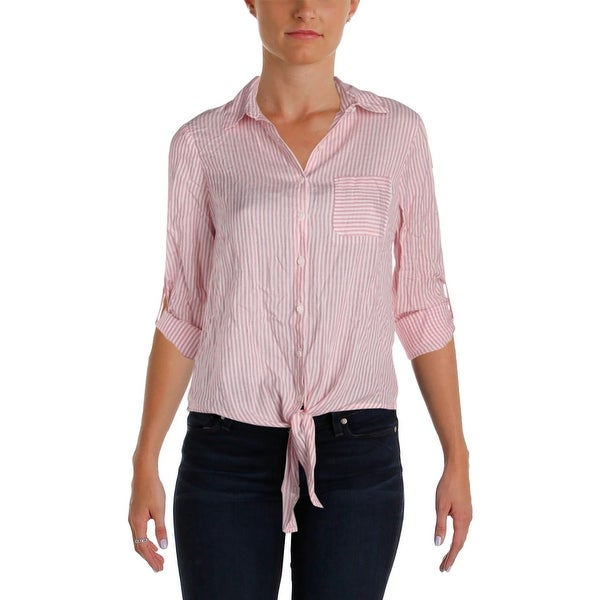 757214a64e8 Ivanka Trump Womens Blouse Button-Up Tie Front