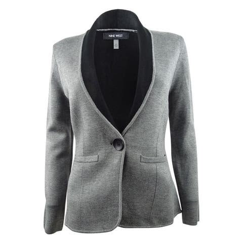 Nine West Women's One-Button Sweater Jacket (XS, Heather Grey/Black) - Heather Grey/Black - XS