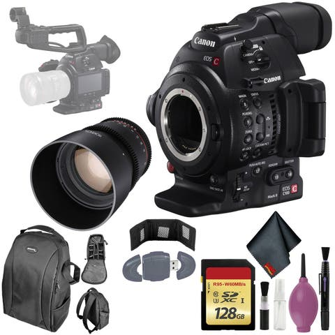 Canon C100 Mark II EOS Camera CMOS AF - 128GB - ROKINON 85MM T/1.5 DS