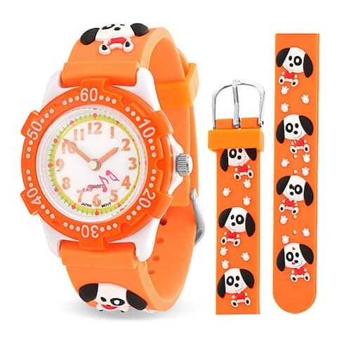 Dog Puppy Pet Paw Print Waterproof Wrist Watch Time Teacher Quartz 3D Cartoon Orange Silicone Wristband Round White Dial