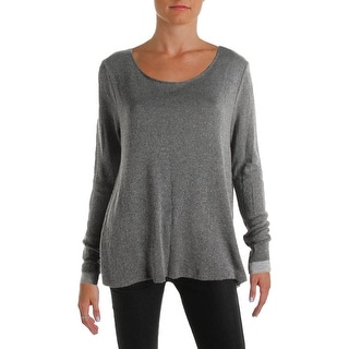 Three Dots Womens Pullover Top Metallic Side Slit