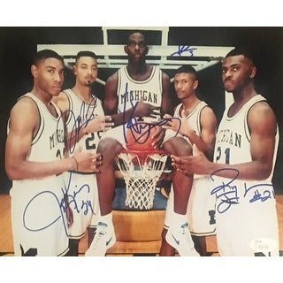 Fab 5 Autographed Michigan Basketball Signed 8x10 Photo by Five Webber Rose Howard Jackson King JSA