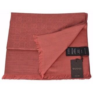 "Gucci 362654 Wool Silk Blend Burnt Orange GG Guccissima Large Muffler Scarf - 28"" x 78"""