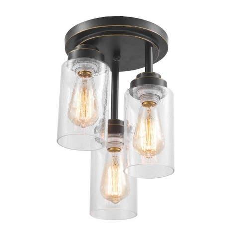 3 light industrial seedy glass rust flush mount ceiling light - Bronze