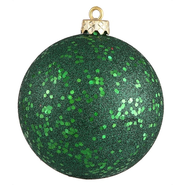 "4"" Emerald Sequin Ball Drilled 6/Bag"