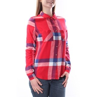 Womens Red Plaid Cuffed Collared Casual Button Up Top Size M