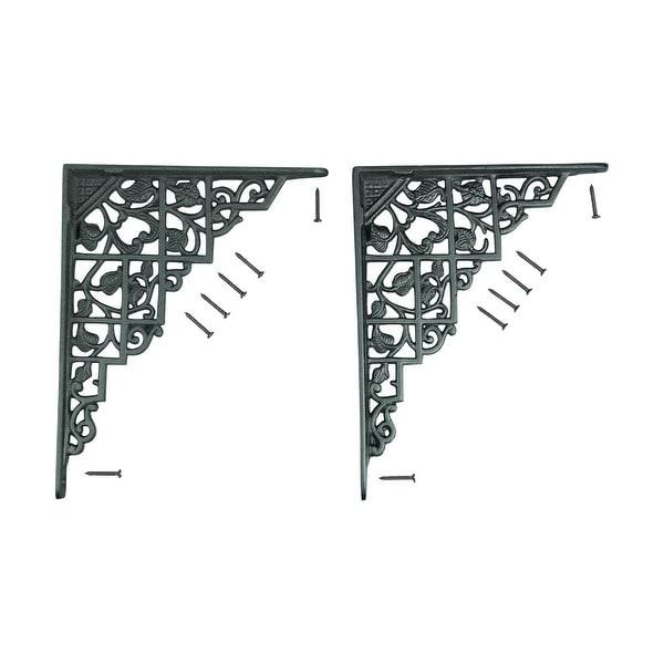 shop pair shelf brackets black aluminum 7 x 8 3  4