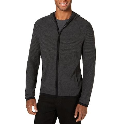 Alfani Mens Sweater Gray Black Size 2XL Hooded Zip Up Knit Textured