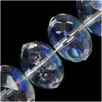Czech Fire Polished Glass, Donut Rondelle Beads 11x7mm Crystal AB (8)