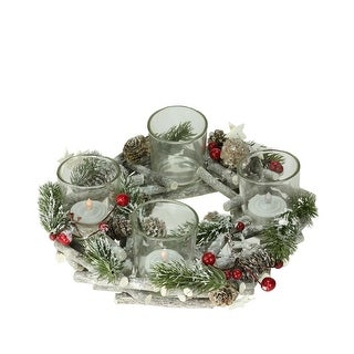 "10"" Frosted Berries, Branches and Stars Christmas Votive Candle Holder Centerpiece - brown"