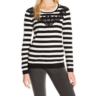 Vince Camuto NEW Black Womens Size Small S Striped Lace Applique Sweater