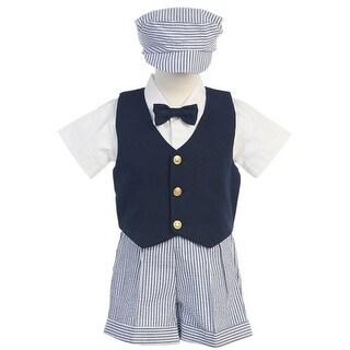 Boys Blue White Vest Shorts Easter Ring Bearer Suit 12M-4T