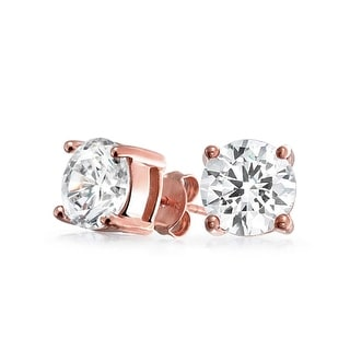 Bling Jewelry Basket Set Round CZ Stud earringsRose Gold Plated 7mm - Pink