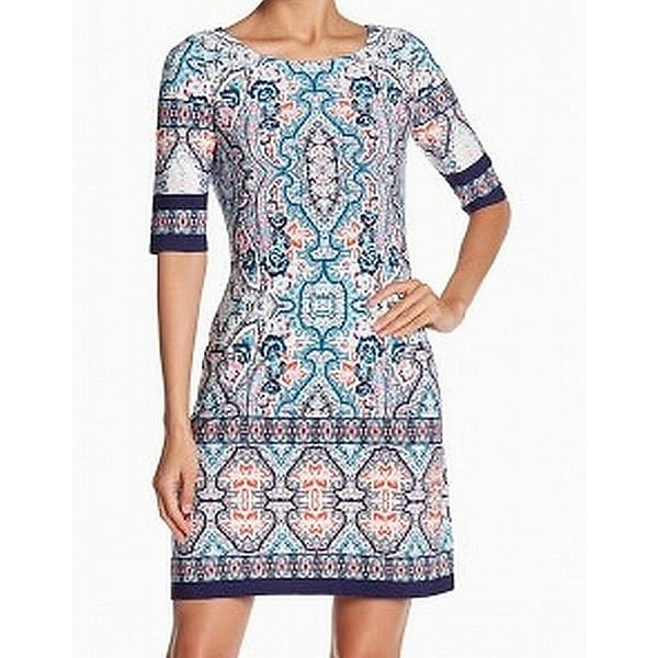 Eliza J Navy Blue Red Womens Size 8 Damask Printed Shift Dress