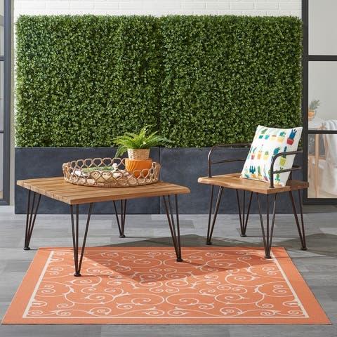 Nourison Home & Garden Scrolling Ivory Vines Indoor/Outdoor Area Rug