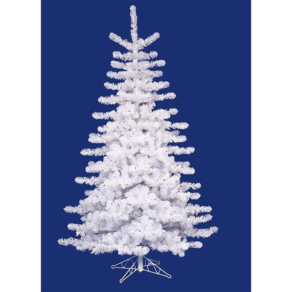 7.5' Pre-Lit Crystal White Medium Artificial Christmas Tree - Multi Lights