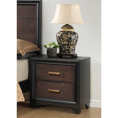 Strick & Bolton Diego Black/ Brown 2-drawer Nightstand