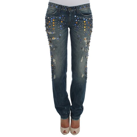 Dolce & Gabbana Dolce & Gabbana Crystal Embellished GIRLY Slim Fit Jeans