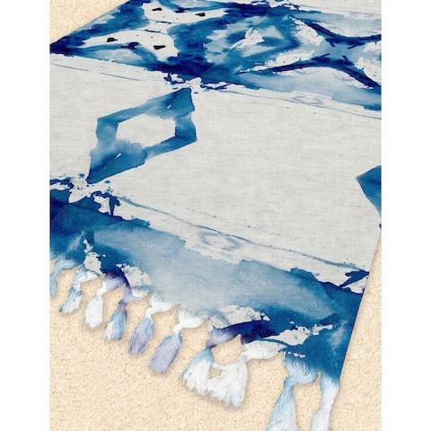 PILLERS Beach Blanket with Tassels By Terri Ellis - 38 x 80