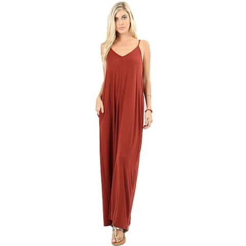 JED Women's Soft Fabric Tank Maxi Dress with Side Pockets