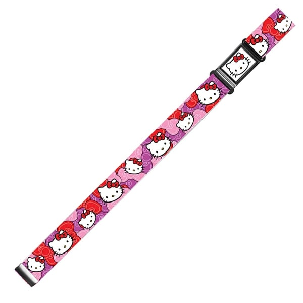 Hello Kitty Face Full Color Black Hello Kitty Pink Red Bowtie Webbing Magnetic Web Belt - S