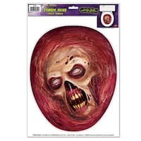 """Club Pack of 12 Zombie Head Toilet Topper Peel 'N Place Halloween Decorations 13.5"""" - Red"""