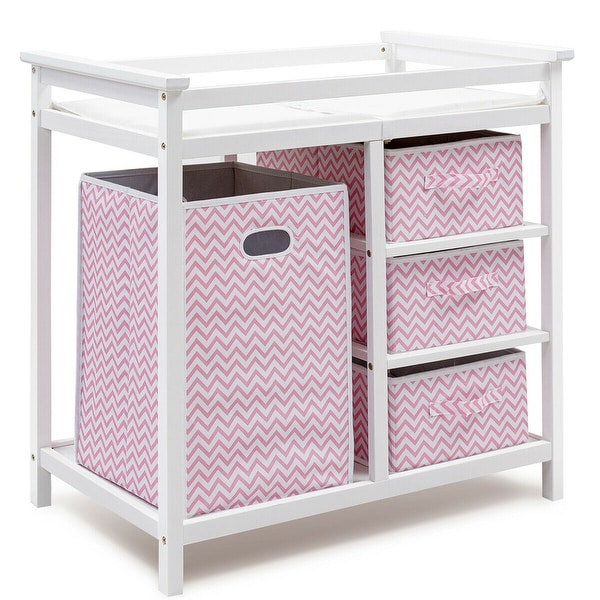Costway Pink Infant Baby Changing Table w/3 Basket Hamper Diaper. Opens flyout.